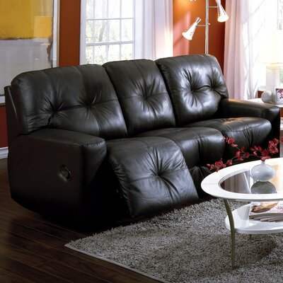 Mystique Leather Reclining Sofa Type: Manual, Upholstery: Leather/PVC Match - Tulsa II Jet