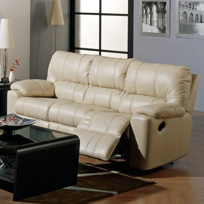 Picard Leather Reclining Sofa Upholstery: Leather/PVC Match - Tulsa II Bisque, Type: Power
