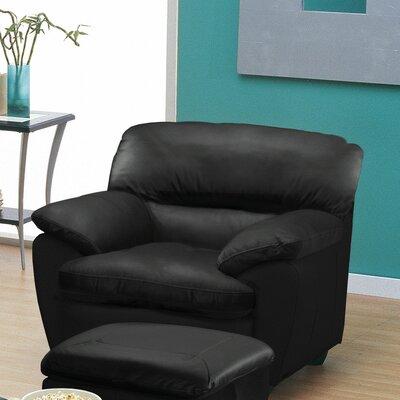 Harley Club Chair Finish: Espresso, Upholstery: Bonded Leather - Champion Java