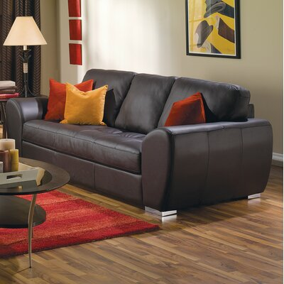 Kelowna Sofa Upholstery: Leather/PVC Match - Tulsa II Chalk, Hardware Finish: Espresso