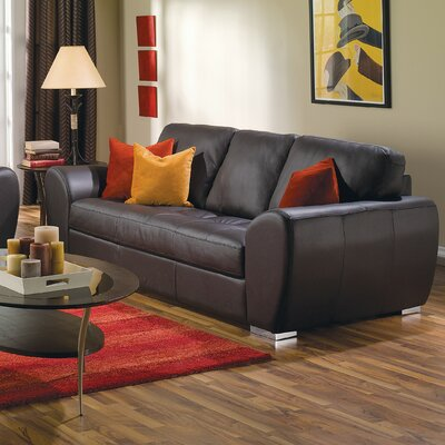 Kelowna Sofa Upholstery: Leather/PVC Match - Tulsa II Dark Brown, Hardware Finish: Espresso