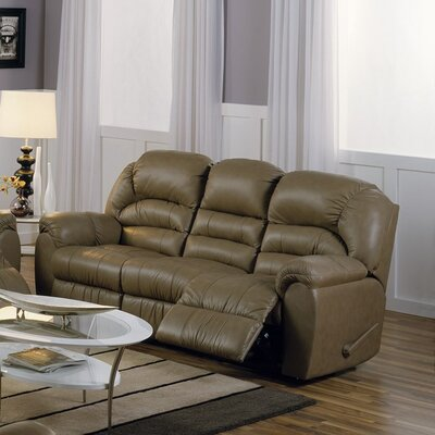 Taurus Leather Reclining Sofa Upholstery: Bonded Leather - Champion Khaki, Type: Manual