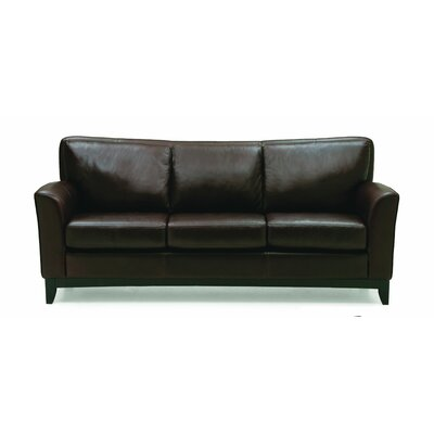 India Sofa Upholstery: All Leather Protected - Tulsa II Jet, Leg Finish: Stainless Steel