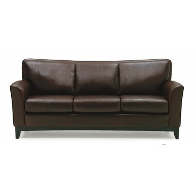 India Sofa Upholstery: All Leather Protected - Tulsa II Dark Brown, Leg Finish: Stainless Steel