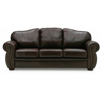 Troon Leather Sofa Upholstery: All Leather Protected - Tulsa II Dark Brown, Leg Finish: Stainless Steel