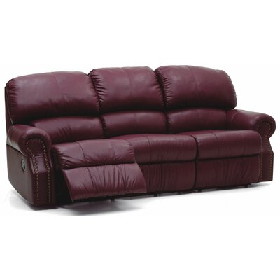Charleston Reclining Sofa Type: Manual, Upholstery: Leather/PVC Match - Tulsa II Chalk