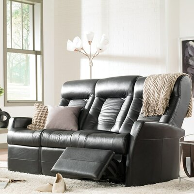 Banff II Reclining Sofa Color: Tulsa II Sand, Leather Type: Leather PVC/Match, Type: Manual