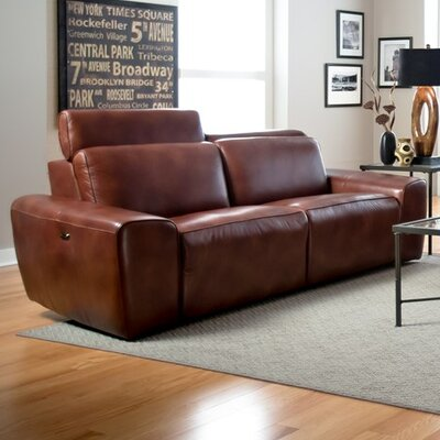 Beaumont Reclining Sofa Type: Power, Upholstery: Leather/PVC Match - Tulsa II Chalk