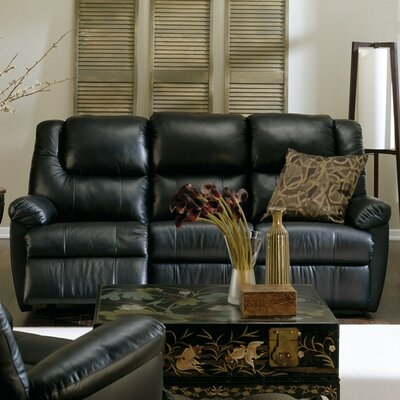 Tundra Reclining Sofa Color: Tulsa II Stone, Leather Type: Leather PVC/Match, Type: Power