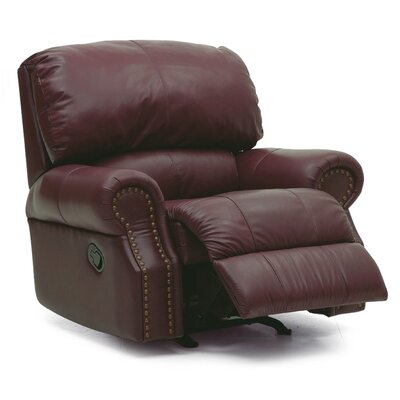 Dane Rocker Recliner Type: Power, Upholstery: Leather/PVC Match - Tulsa II Jet