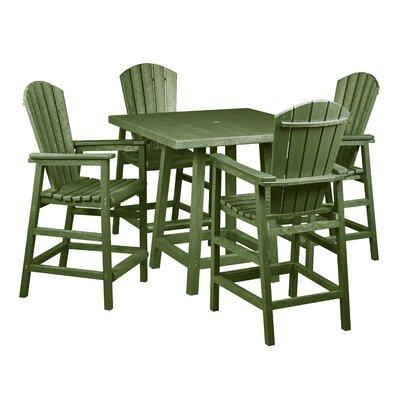 Captiva 5 Piece Pub Table Set Finish: Cactus Green