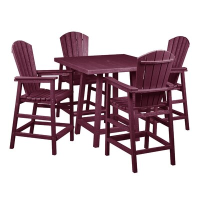 Captiva 5 Piece Pub Table Set Finish: Bordeaux