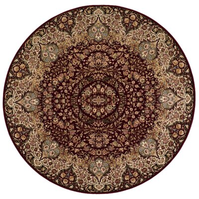 Antiquities Stately Empire Burgundy Area Rug Rug Size: Round 53 x 53