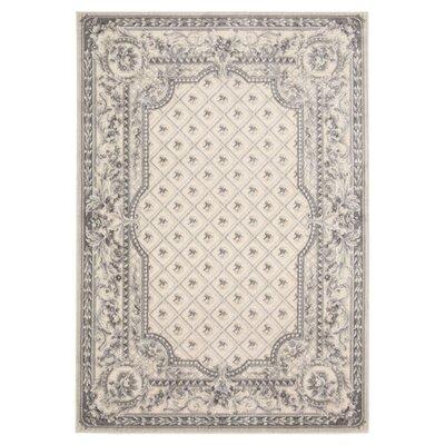 Villa Retreat Garden Romance Ivory/Gray Area Rug Rug Size: Rectangle 79 x 1010
