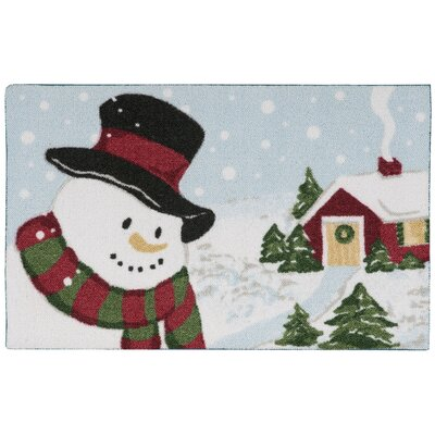 Christmas Snowman Light Blue Doormat