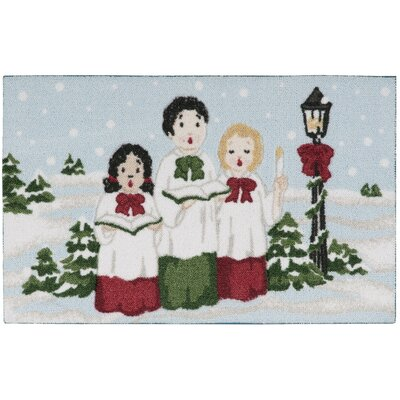 Christmas Carolers Light Blue Doormat