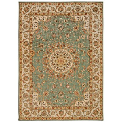 Babylon Ancient Times Palace Teal Area Rug Rug Size: Rectangle 53 x 75