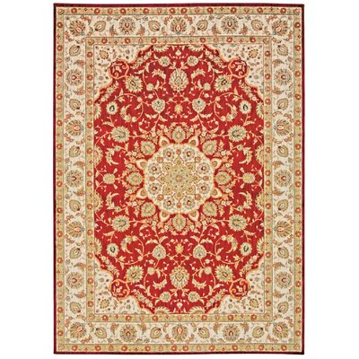 Babylon Ancient Times Palace Red/Beige Area Rug Rug Size: 93 x 129