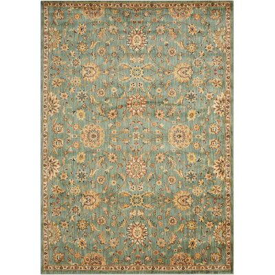 Babylon Ancient Times Ancient Treasures Teal Area Rug Rug Size: Rectangle 53 x 75