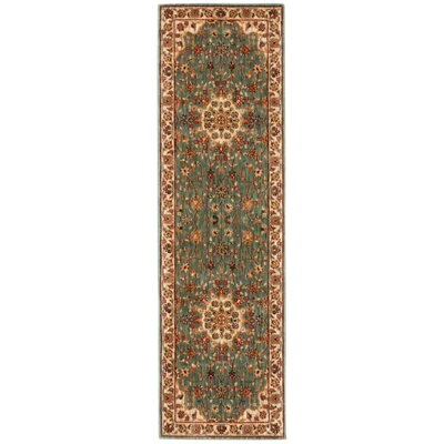 Babylon Ancient Times Palace Teal Area Rug Rug Size: Runner 22 x 76