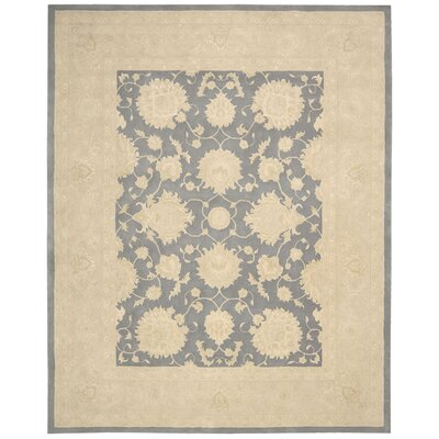 Royal Serenity Kathy Ireland Hide Park Hand-Tufted Ivory/Blue Area Rug Rug Size: 56 x 75