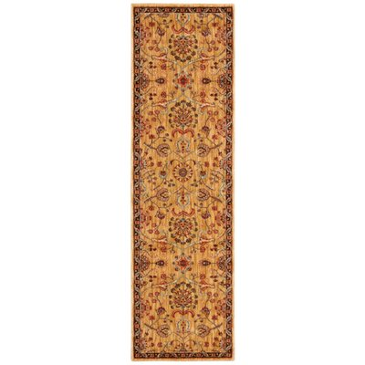Babylon Ancient Times Persian Treasures Gold Area Rug Rug Size: Runner 22 x 76