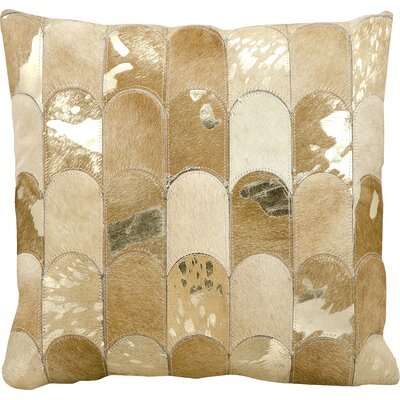 Cinderford Natural Leather Throw Pillow Color: Beige/Gold
