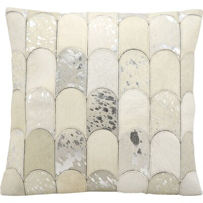 Cinderford Natural Leather Throw Pillow Color: White/Silver