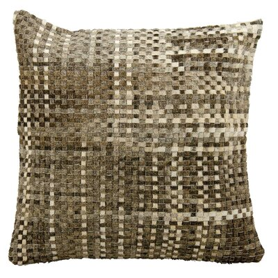 Natural Leather Hide Throw Pillow Color: Gray