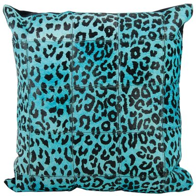 Betsy Leather Throw Pillow Color: Blue/Black