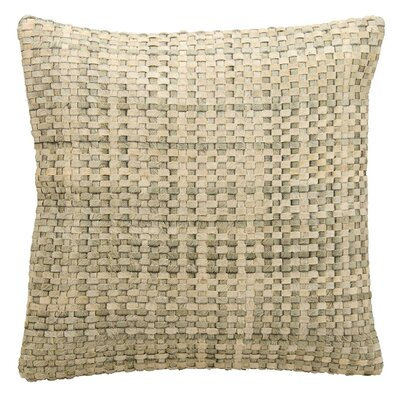 Natural Leather Hide Throw Pillow Color: Silver White