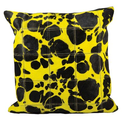 Bauxite Leather Throw Pillow Color: Yellow/Black