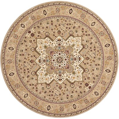 Antiquities Beige Area Rug Rug Size: Round 53