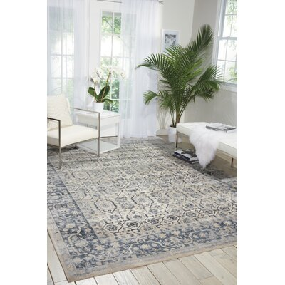 Malta Ivory/Blue Area Rug Rug Size: Rectangle 7'10