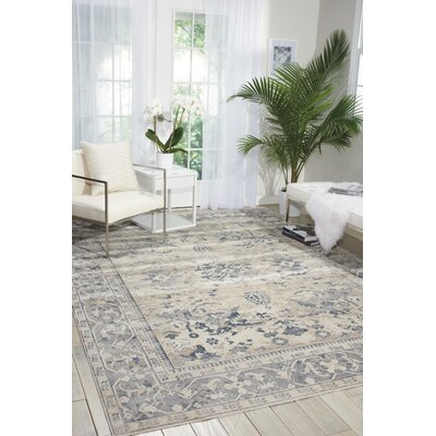 Malta Ivory/Blue Area Rug Rug Size: Rectangle 53 x 77