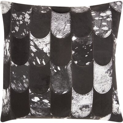 Cinderford Natural Leather Throw Pillow Color: Black/Silver