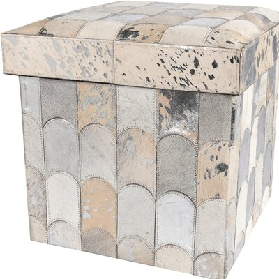 Collapsible Storage Ottoman Upholstery: White/Silver