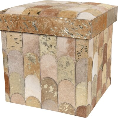 Collapsible Storage Ottoman Upholstery: Beige/Gold