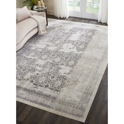 Silver Screen Gray Area Rug Rug Size: Rectangle 910 x 132