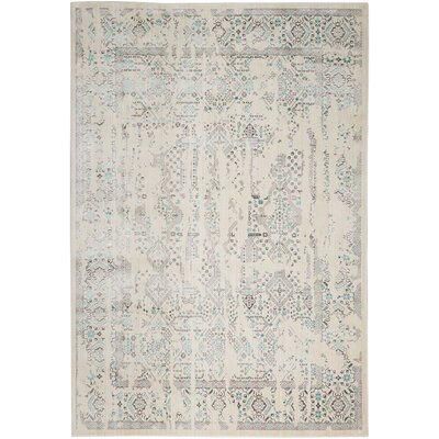 Silver Screen Ivory/Teal Area Rug Rug Size: Rectangle 53 x 73