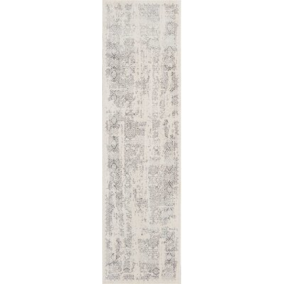 Silver Screen Ivory/Gray Area Rug Rug Size: Runner 22 x 76