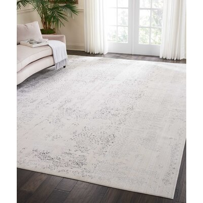 Silver Screen Ivory/Gray Area Rug Rug Size: Rectangle 910 x 132