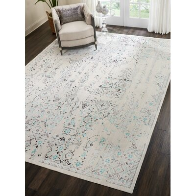 Silver Screen Ivory/Teal Area Rug Rug Size: Rectangle 9 x 12