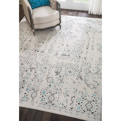 Silver Screen Ivory/Teal Area Rug Rug Size: Rectangle 8 x 10
