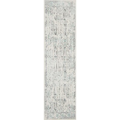 Silver Screen Ivory/Teal Area Rug Rug Size: Runner 22 x 76