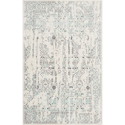 Silver Screen Ivory/Teal Area Rug Rug Size: Rectangle 4 x 6
