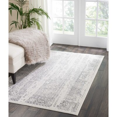 Silver Screen Ivory/Gray Area Rug Rug Size: Rectangle 4 x 6