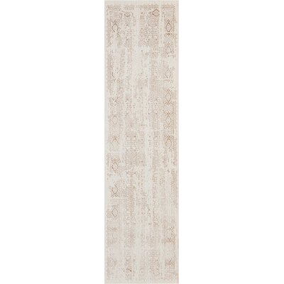 Silver Screen Ivory/Mocha Area Rug Rug Size: Runner 22 x 76
