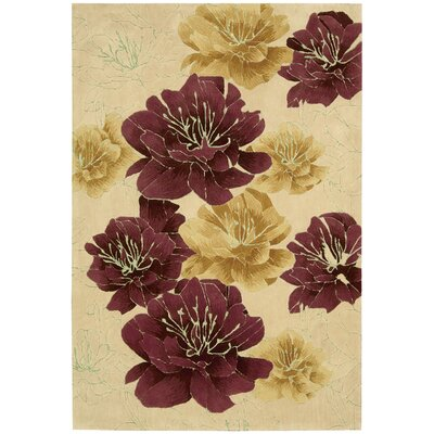 Palisades Joshua Blossom Hand-Tufted Beige/Red Area Rug Rug Size: Rectangle 39 x 59