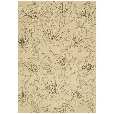 Palisades Wildflowers Hand-Tufted Tan Area Rug Rug Size: 39 x 59